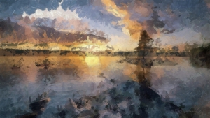 Copacul Pe Lac Abstract